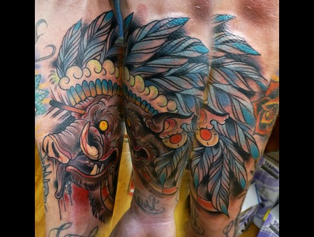 Boar  Tattoo  Chief  Headdress  Feathers Color