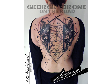 George Drone On The Road Athens Greece Wolf Mixed Media Abstract Artistic Back