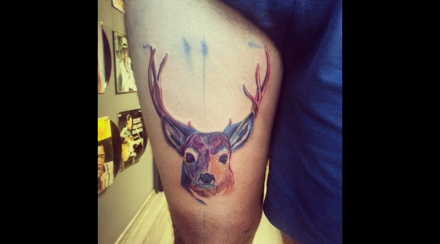 Watercolor Deer  Thigh