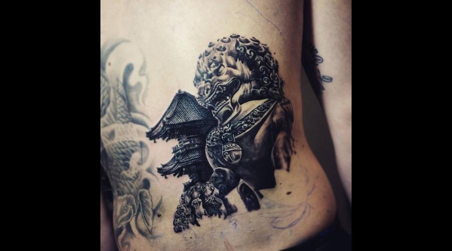 Fudog And Temple Tattoo ! Back