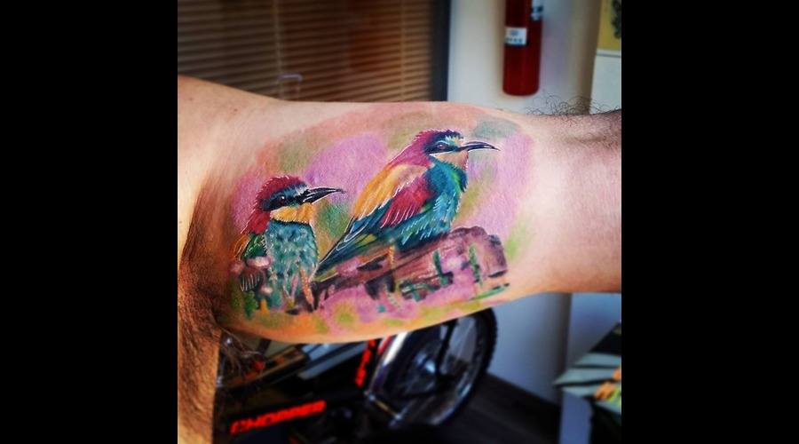 Bee Eaters   Bird Tattoo Arm