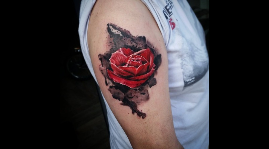 Realistic Rose With Watercolor Effect  Arm