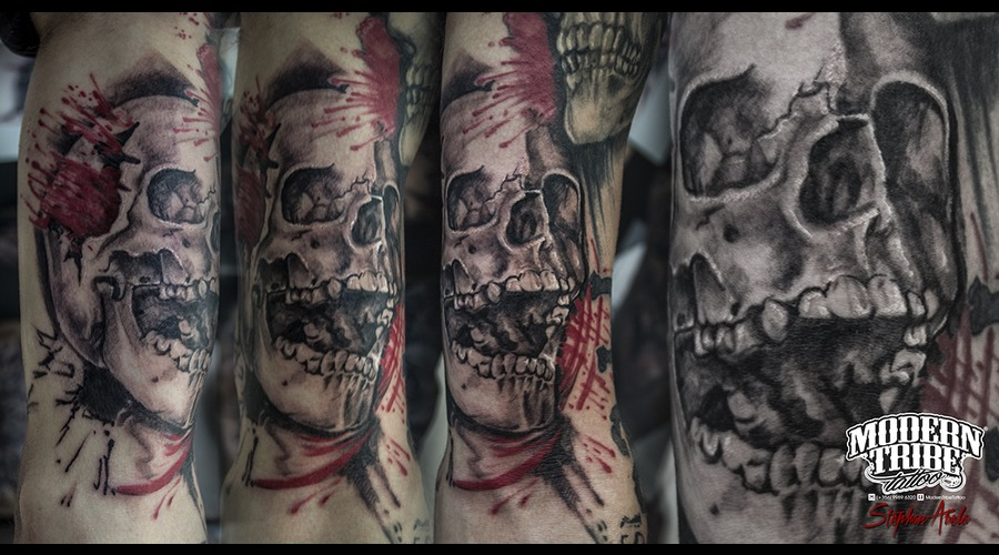 Skull  Trash Polka Arm