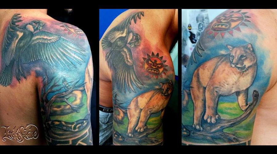 Inca Trilogi  Trilogía Inca  Color Realism Tattoo  Cóndor  Puma  Snake Back