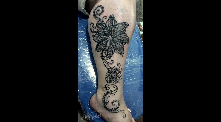 Mandala Tattoo  Black Tribal Tattoo  Leg Piece Tattoo  Abstract Lower Leg