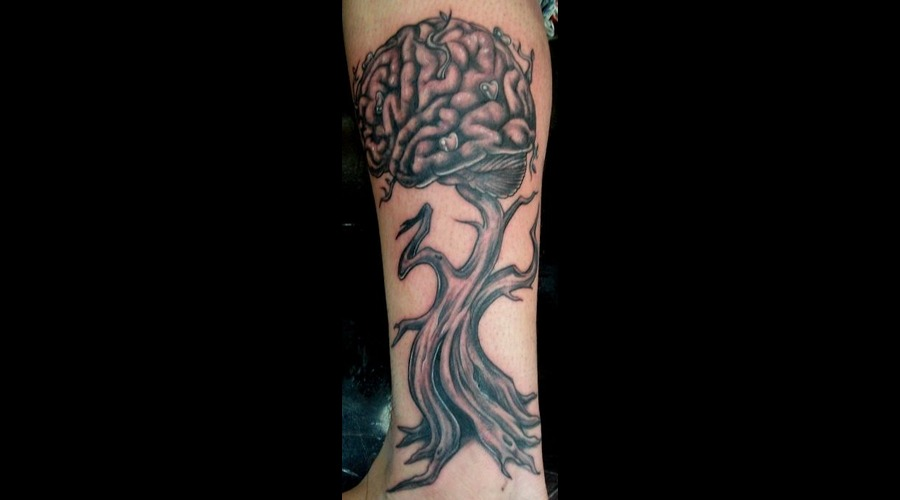 Tree Tattoo  Lower Leg  Brain Tree  Surrealism Tattoo Lower Leg