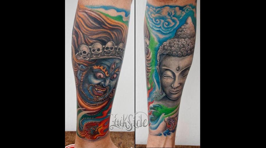 Budha  Mahakala  Buda  Hindu  Full Color Piece Lower Leg