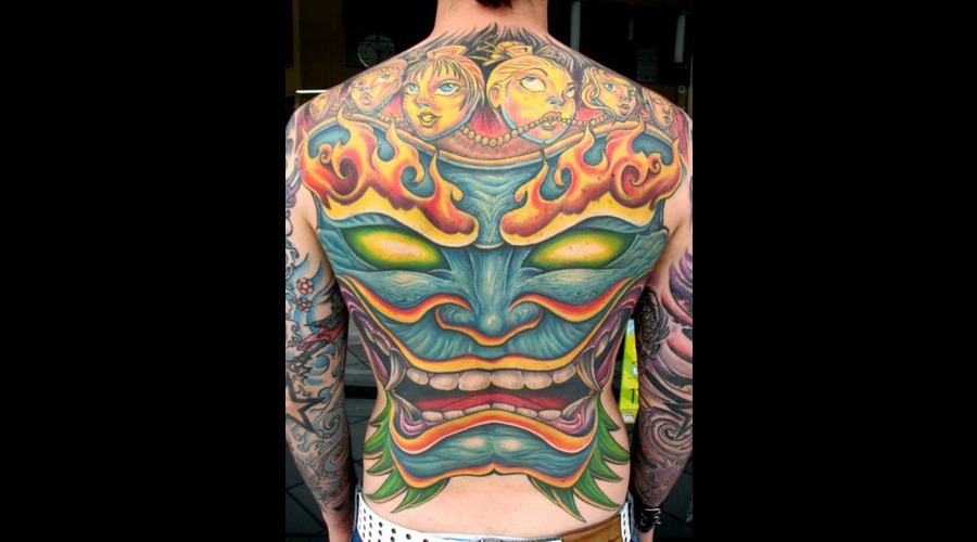 Hannya  Back Piece  Full Color  Noh  Back