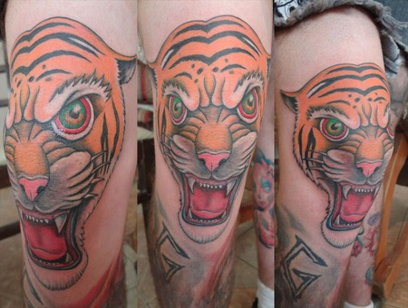 Tiger  Traditional  Full Color   Thigh