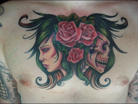 Woman  Skull  Full Color  Life And Death Chest