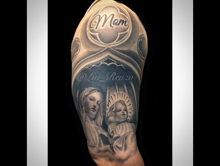 Blackandgrey  Greywash  Custom  Coverup  Religious  Virgenmary  Babyjesus Arm