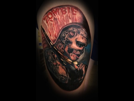 Rico The Zombie  Portrait Tattoo  Thigh