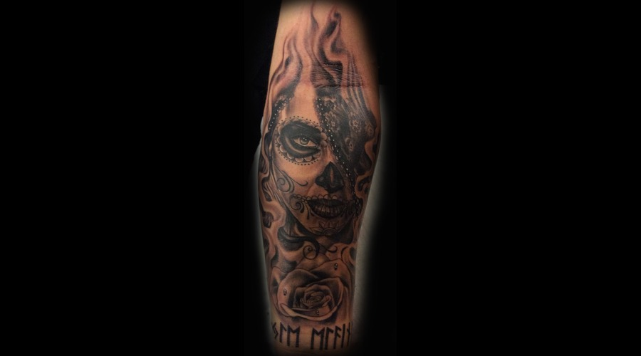 Day Of The Dead  Black And Grey Tattoo  Forearm