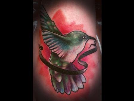 Hummingbird  Bird  Color  Banner  Foot Tattoo  Feminine Tattoo   Color