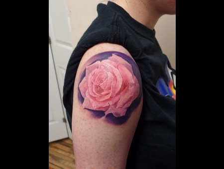 Realistic Pink Rose Arm
