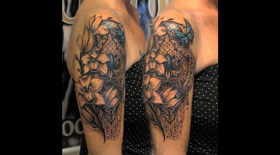 Orchids  Lace Black Grey Arm