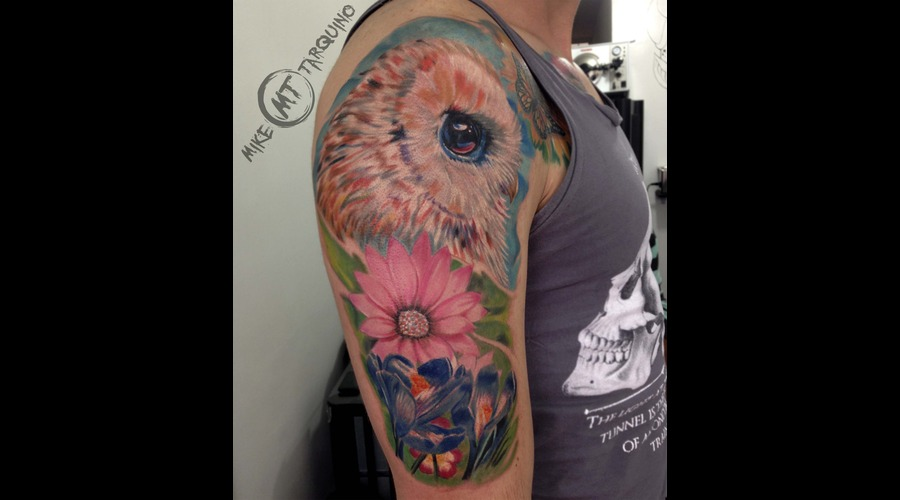 Owl  Flowers  Tattoo
