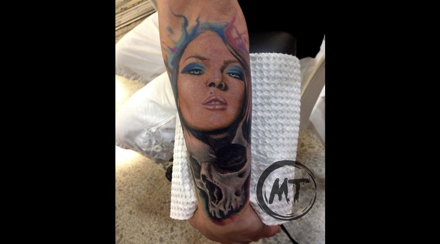 Girl  Skull  Tattoo  Mike Tarquino Arm