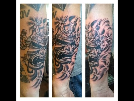 Black N Grey Samurai Mask Arm