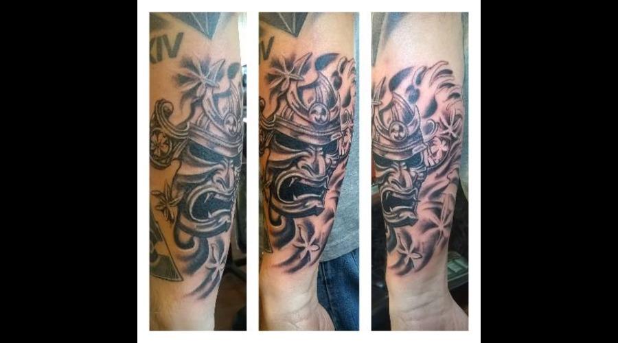 Black N Grey Samurai Mask Arm