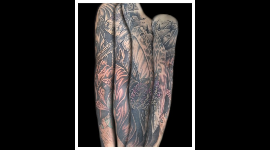 Rose  Skull  Skeleton  Reaper  Sleeve  Hourglass  Sickle   Black Grey Arm