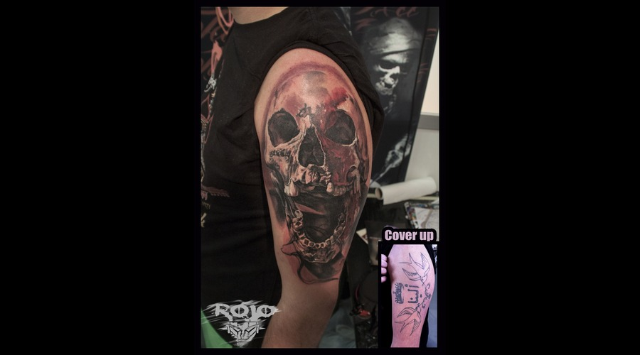 Skulls  Black And Grey  Realism Arm