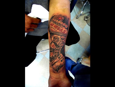 Vegas  Sign  Cards  Dice  Gamble  Freehand Forearm