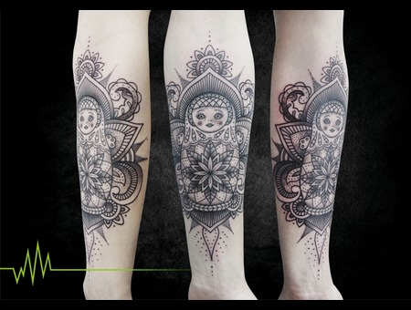 Mandala  Matroschka  Dotwork Arm