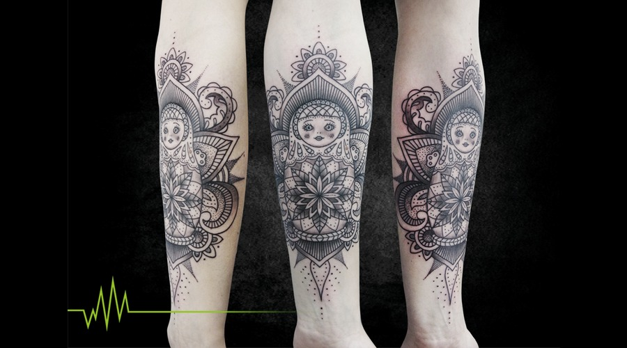 Mandala  Matroschka  Dotwork Arm