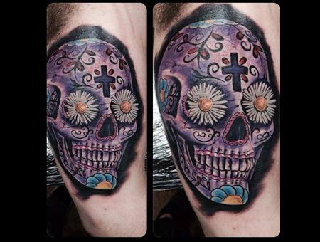 Latin  Dios De La Muerte  Skull  Floral  Colorful  Bright  Skulls