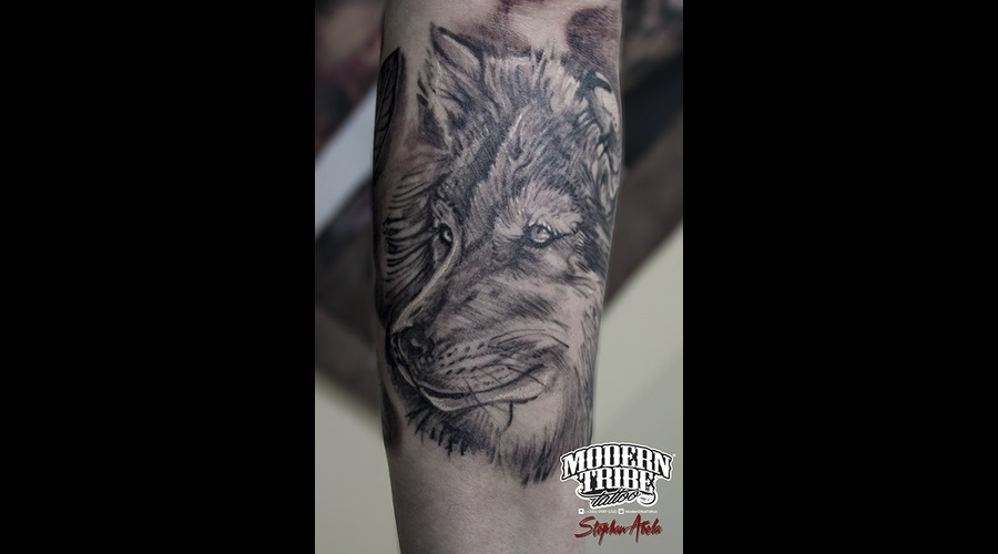 Healed Wolf Tattoo Arm