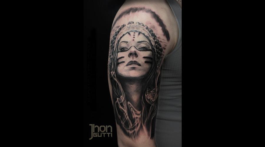 Indian  Girl Face  Smoke  Headdress