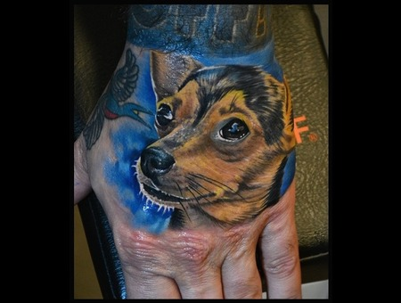 Dog  Color Portrait  Pet  Hand Tattoos Arm