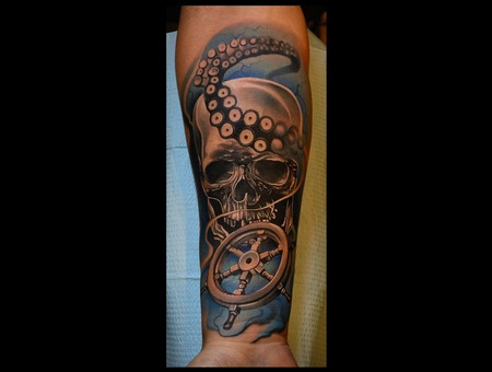 Nautical Tattoo  Octopus   Color With Black And Grey Tattoo Forearm