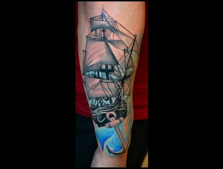 Nautical  Ship  Pirate Ship  Color Tattoos Arm