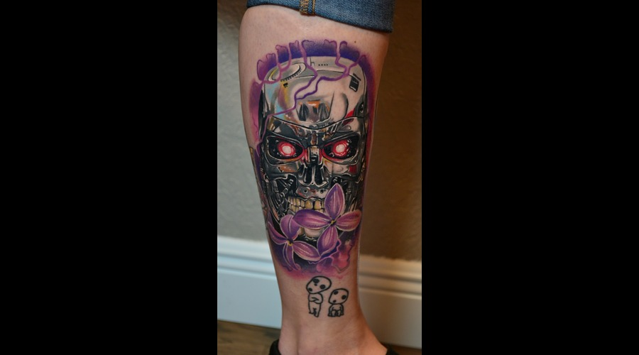 T2   Flowers   Color Tattoos  Terminator Tattoos Lower Leg