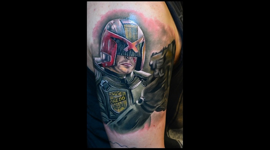 Dredd  Color Portrait  Color Tattoo  Actor Arm