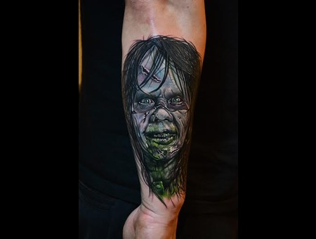 Exorcism Tattoos  Color Portrait  Horror Tattoos  Realism  Photorealism Arm