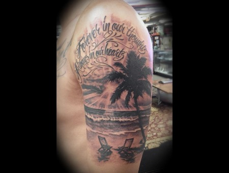 In Memory  Rip  Palm Tree  Tree  Beach  Ocean  Wave Black White