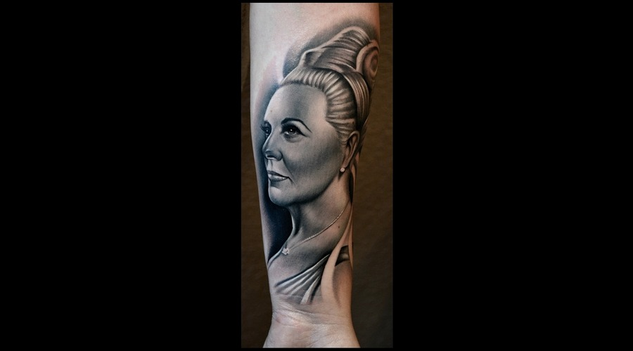 Portrait Of Grandma  Photorealism  Realism  Black And Grey Portrait  Tattoo Forearm