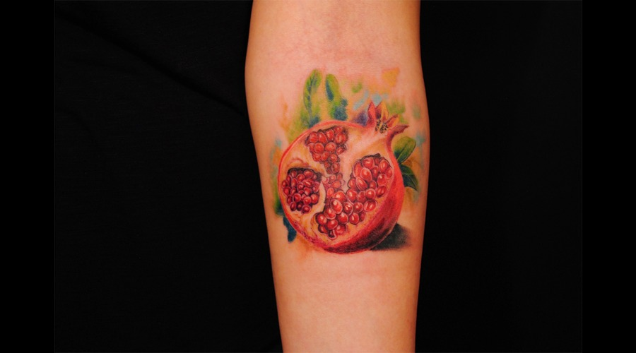Pomegranate  Pomegranate Tattoo  Fruit Tattoo  Realistic Tattoo Forearm