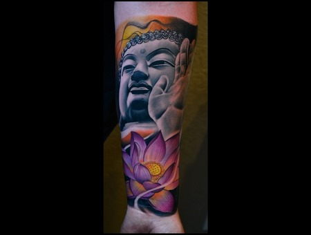 Buddha With Lotus Flower  Photorealistic Realistic Portrait Lotus Flowers Forearm