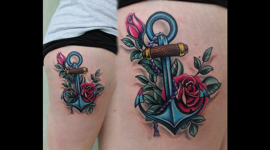Anchor  Roses Color Thigh