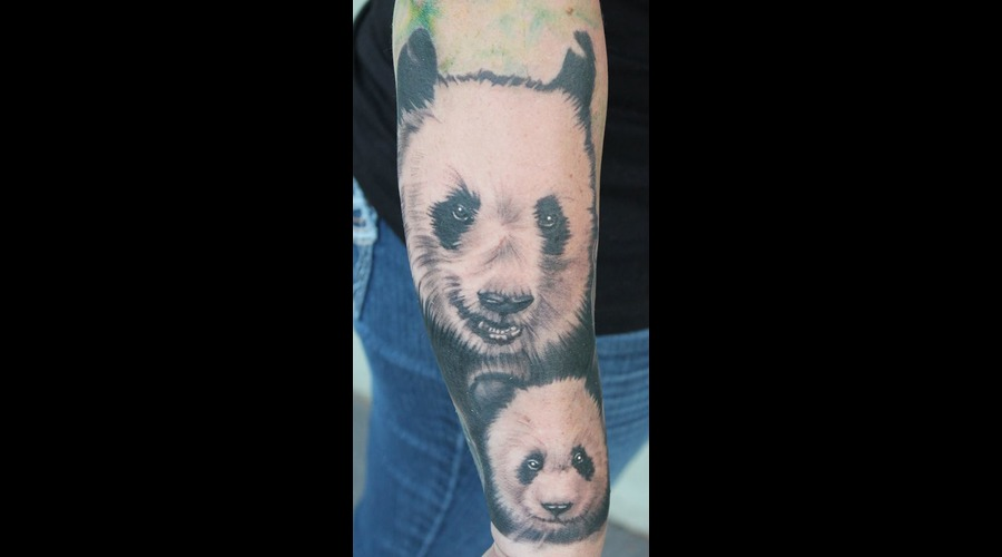Momma Bear  Pandas Black Grey Forearm