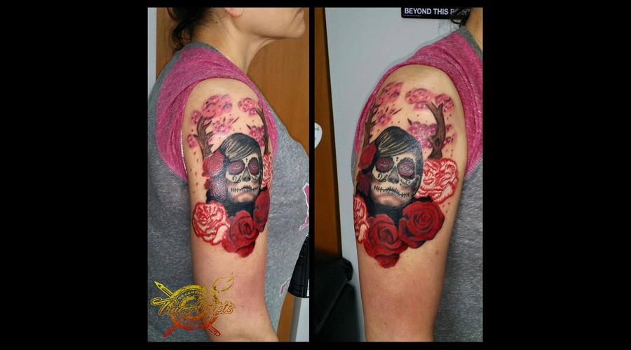 Day Of The Dead  Apple Blossom Tree  Rose  Carnations Arm
