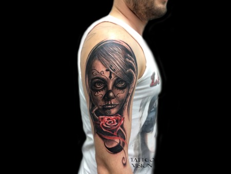 Portrait  Candy Skull  Girl  Rouse   Shoulder