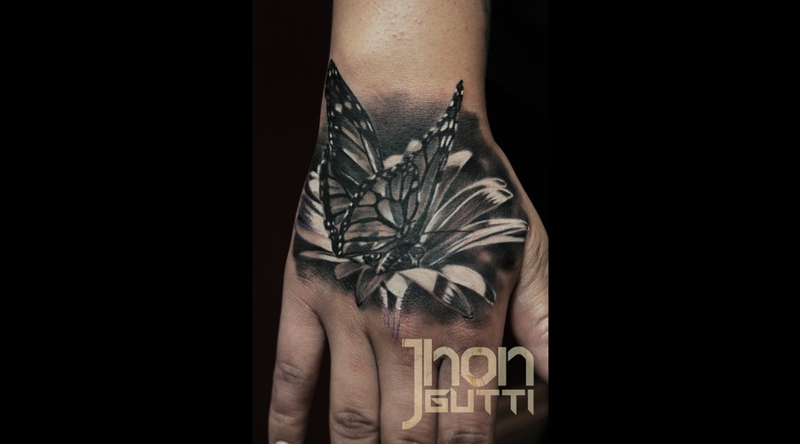 Hand Tattoo  Butterfly  Flower  Black And Grey