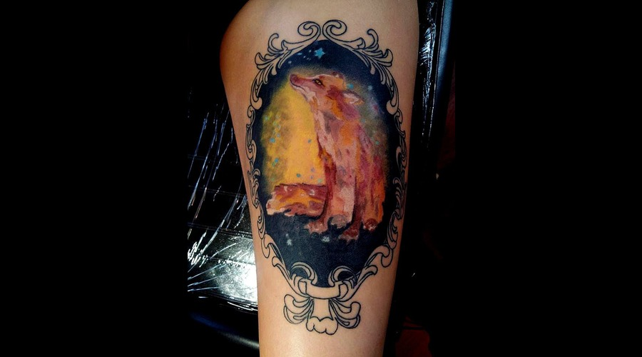 Watercolor   Watercolor Tattoo  Wolf  Wolf Tattoo Thigh