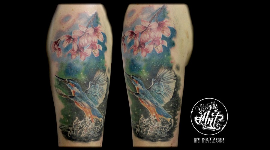 Kingfisher  Cherry Blossoms  Realistic Arm