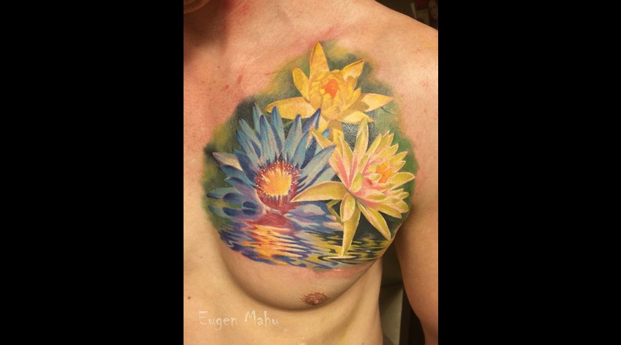 Realistic  Realism  Art  Tattoo  Flowers Chest